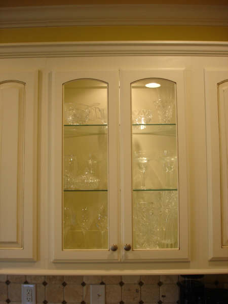 Seeded Glass On Display Cabinet