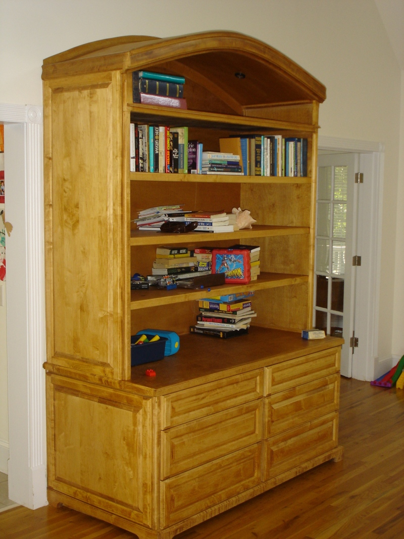 Solid maple wall unit with arched top for Pre manufactured cabinets