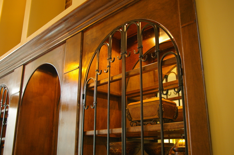 Custom Arches, Iron Doors, Glass Shelves